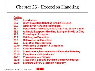 Chapter 23 - Exception Handling