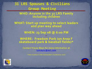 31 LRS Spouses & Civilians Group Meeting