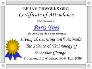 BEHAVIORWORKS.ORG Certificate of Attendance
