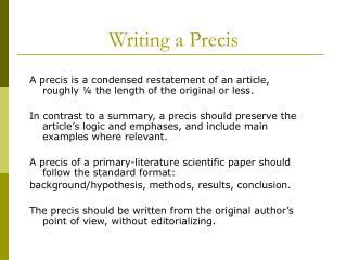 Writing a Precis
