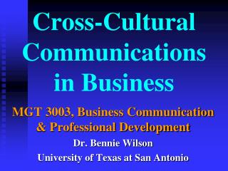 Cross-Cultural Communications in Business
