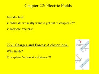 "22-1 Charges and Forces: A closer look: Why fields? To explain  "" action at a distance "" !!"