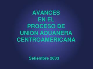 AVANCES  EN EL  PROCESO DE  UNIÓN ADUANERA CENTROAMERICANA