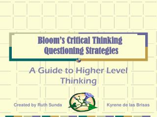 Bloom's Critical Thinking      Questioning Strategies
