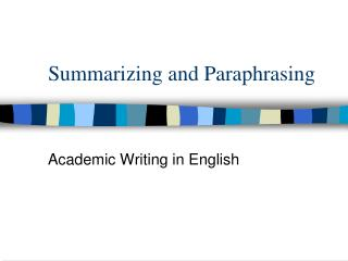 Summarizing and paraphrasing powerpoint definitions