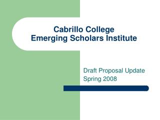 Cabrillo College  Emerging Scholars Institute
