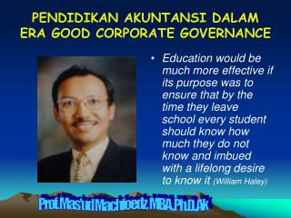 PENDIDIKAN AKUNTANSI DALAM ERA GOOD CORPORATE GOVERNANCE