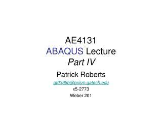 AE4131 ABAQUS  Lecture Part IV