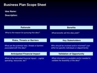Business Plan Scope Sheet