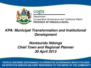 FRAMING OF TRANSFORMATION AND INSTITUTIONAL DEVELOPMENT ISSUES