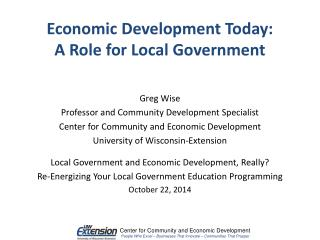 Greg Wise Professor and Community Development Specialist