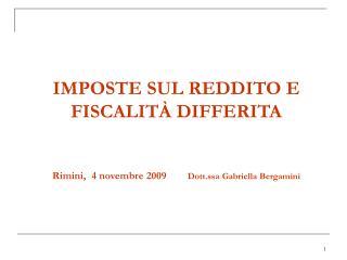IMPOSTE SUL REDDITO E FISCALIT �  DIFFERITA