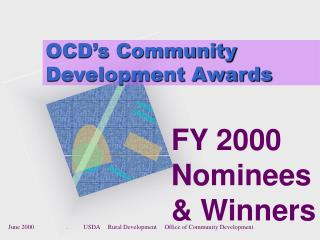 OCD s Community Development Awards