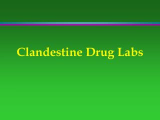 Clandestine Drug Labs