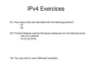 IPv4 Exercices