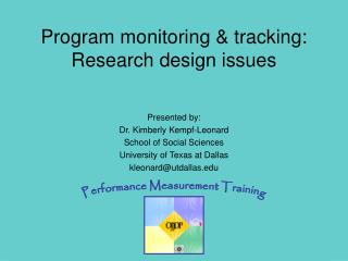 Program monitoring & tracking: Research design issues