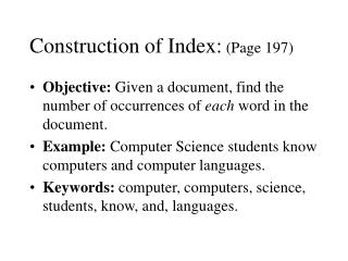 Construction of Index:  (Page 197)