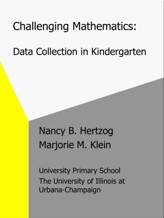 Challenging Mathematics:   Data Collection in Kindergarten