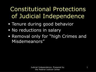 Constitutional Protections of Judicial Independence