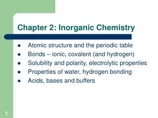 Chapter 2: Inorganic Chemistry