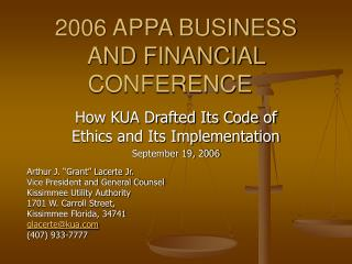 2006 APPA BUSINESS AND FINANCIAL CONFERENCE