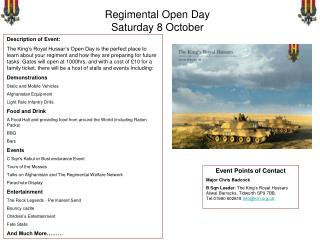 Regimental Open Day Saturday 8 October