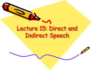 Lecture 15: Direct and Indirect Speech