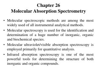 Chapter 26 Molecular Absorption Spectrometry