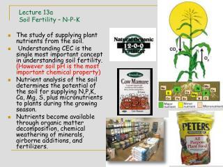 Lecture 13a Soil Fertility – N-P-K