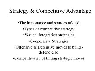 Strategy  Competitive Advantage