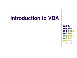 Introduction to VBA
