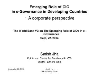 Emerging Role of CIO in e-Governance in Developing Countries -  A corporate perspective