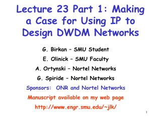 Lecture 23 Part 1: Making a Case for Using IP to Design DWDM Networks