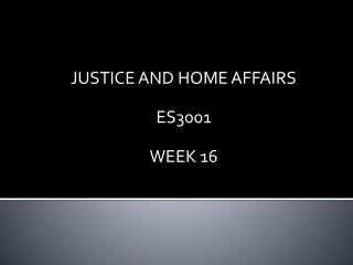 JUSTICE AND HOME AFFAIRS ES3001 WEEK 16