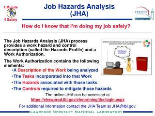 Job Hazards Analysis (JHA)
