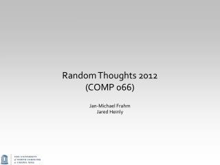 Random Thoughts 2012 (COMP 066)