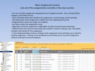 Main Assignments Screen  Lists all of the assignments currently in the class section.