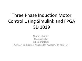 Three Phase Induction Motor Control Using Simulink and FPGA SD 1019