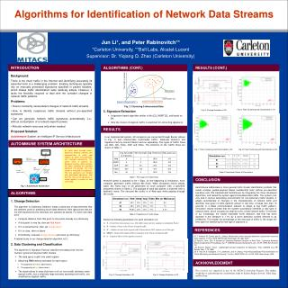 Algorithms for Identification of Network Data Streams