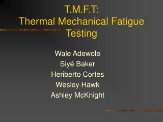 T.M.F.T:  Thermal Mechanical Fatigue Testing