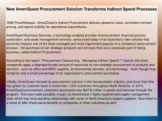 New AmeriQuest Procurement Solution Transforms