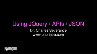 Using JQuery / APIs / JSON