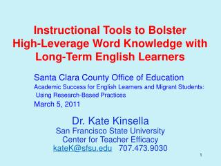 Instructional Tools to Bolster High-Leverage Word Knowledge with Long-Term English Learners