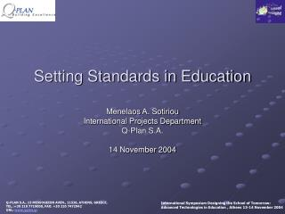 Setting Standards in Education