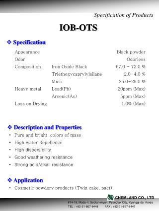Specification of Products
