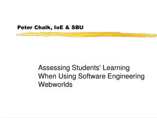 Peter Chalk, IoE & SBU