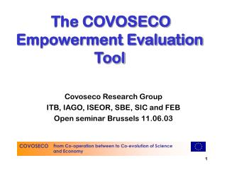 The COVOSECO Empowerment Evaluation Tool