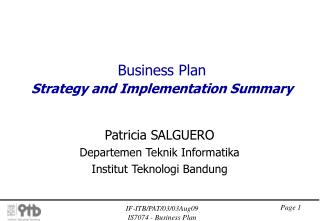 Business Plan Strategy and Implementation Summary