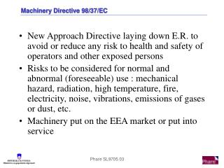Machinery Directive 98/37/EC