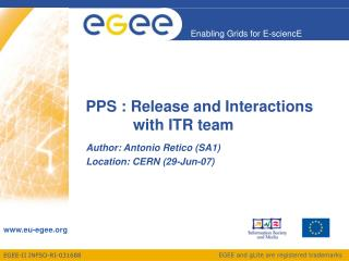 PPS : Release and Interactions                 with ITR team